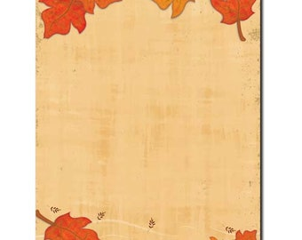 25 or 100pk Falling Leaves Autumn Letterhead Stationery