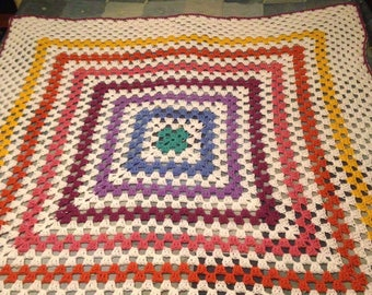 Endless Granny Square Throw Blanket Afghan Free Shipping