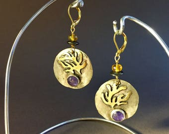 Alá Matisse Earrings with gemstone Cabochons w/ Beads with gold plate lever back earwires