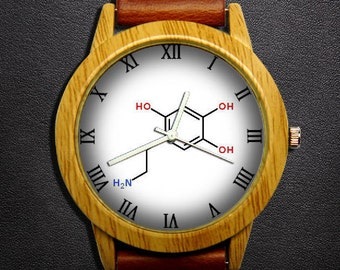 Wood chemical equation and math watch,Custom Engraved watchband,5-(2-aminoethyl) Molecule Science watch,Science teacher watch.