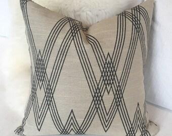 Bone & Black Geometric Throw Pillow w/ Brass Zipper - Neutral Throw Pillow
