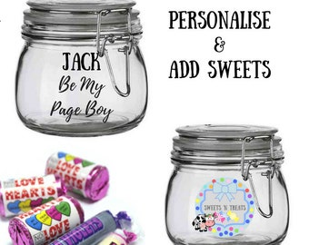 Will you be my page boy gift, page boy thank you gift, thank you for being page boy, thank you page boy, sweets in a jar, sweets gift,