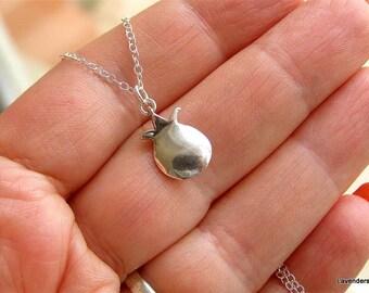 Pomegranate Necklace , Silver Pomegranate Charm ,  Sterling Silver Necklace , Fertility , Modern , Everyday Jewelry