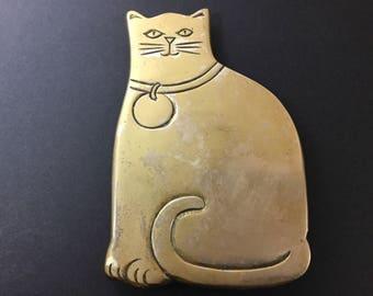 Brass Cat Trivet, Rubel