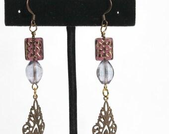 "Purple Beaded Earrings, ""Antique"" Beaded Earrings, Victorian Beaded Earrings"