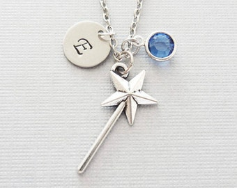 Magic Wand Necklace, Fairy Necklace, Godmother Jewelry, Swarovski Birthstone, Silver Initial, Personalized, Monogram, Hand Stamped Letter