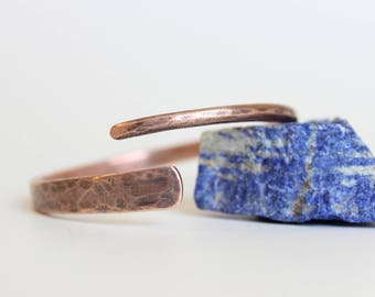 Handmade Rustic Mod Forged Copper Bangle Hammered Copper Open Bangle, The Judy Bangle