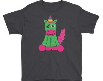 Undead Zombie Unicorn kid's Youth Short Sleeve T-Shirt
