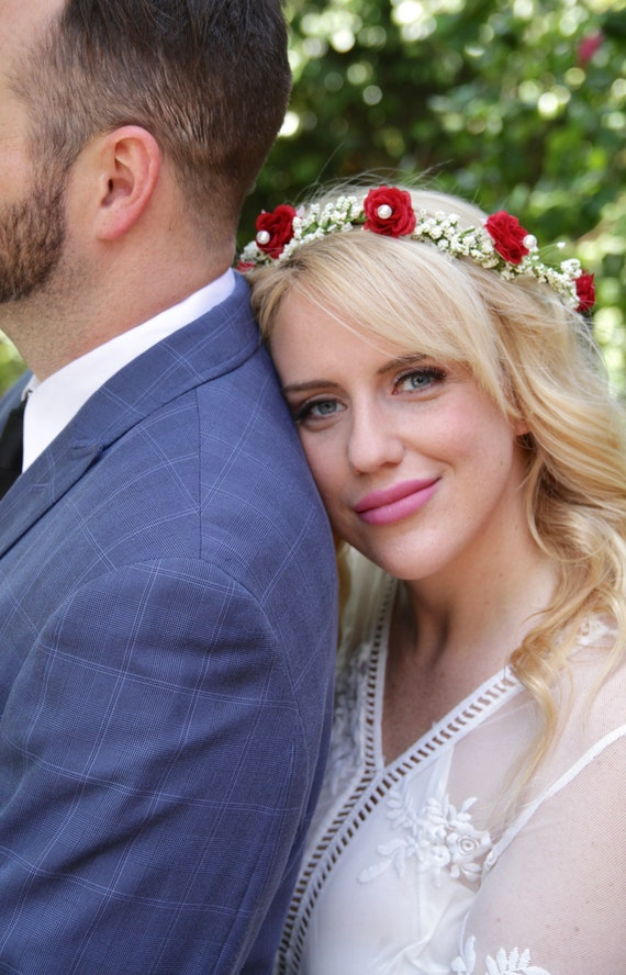 Red Rose Flower Crown | Babys Breath Crown | Pearl Crown | Red flower crown | Ivory Flower Crown | Rose In Hair | Red Flowers in Hair
