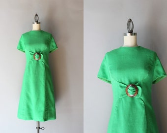 1960s Linen Dress / Vintage 60s Kelly Green Dress / Tortoise Buckle 60s Shift Dress