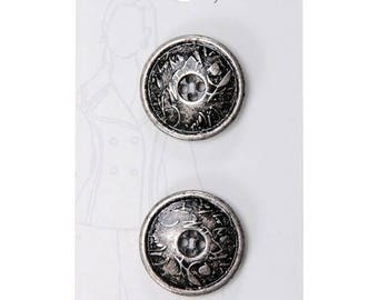 Belle Buttons By Dritz Medium 23 mm ( 7/8 inch) Antique Silver and Black Round Abstract Rustic Industrial Art Metal Buttons BB185 *B3