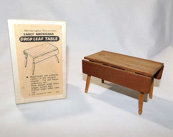 Vintage SHACKMAN Miniature Drop Leaf Table for Dollhouse with Original Box / Dining Table / Pub Table / Kitchen Table