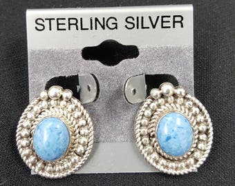 Sterling Silver Earrings Denim Lapis VINTAGE Clip on