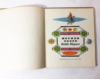 Mother Goose Riddle Rhymes. FIRST EDITION vintage book circa 1953. Children's book.  Fairy Tales book.  Bedtime stories.  Joseph Low.