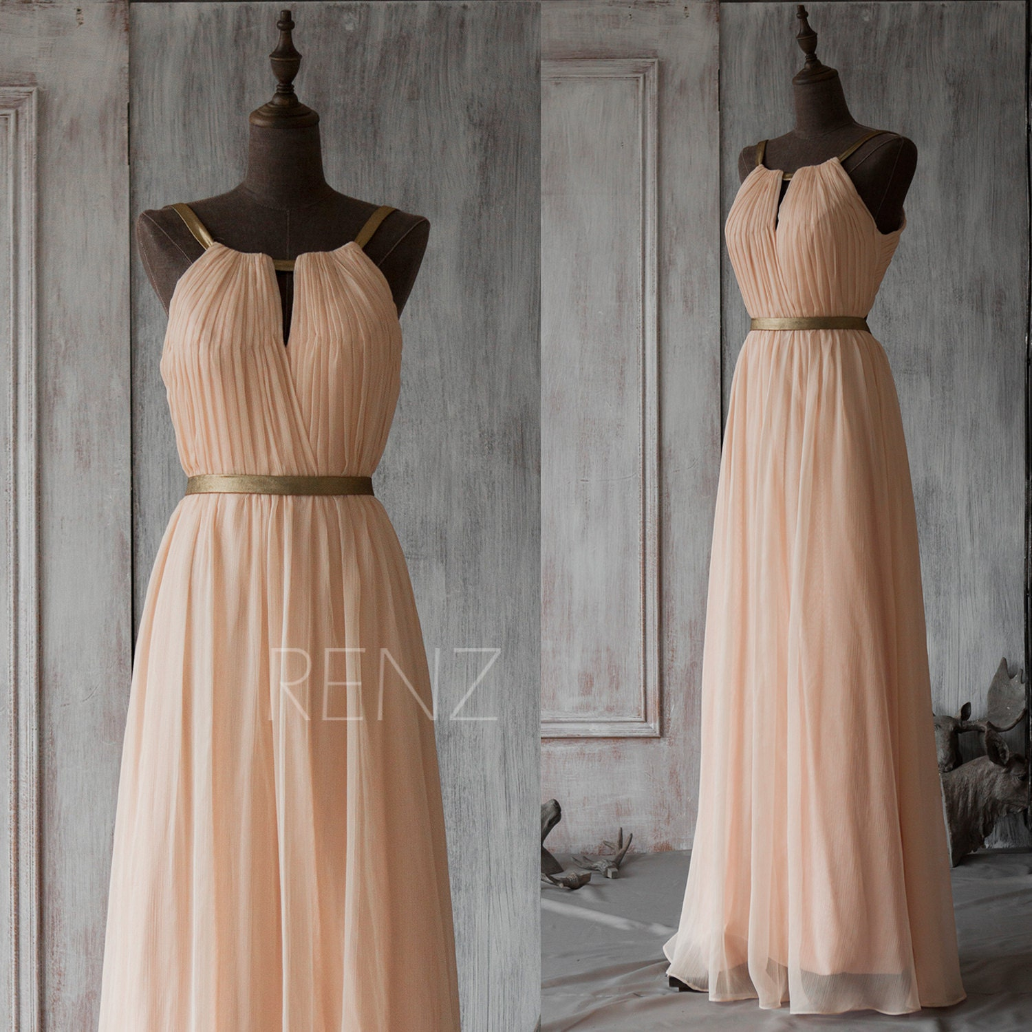 Long bridesmaid dress peach prom dress chiffon wedding zoom ombrellifo Image collections