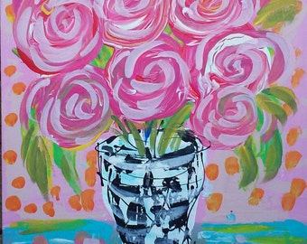 Ready to Ship Abstract Roses in Vase Painting 11 x 14 Flat Canvas YelliKelli