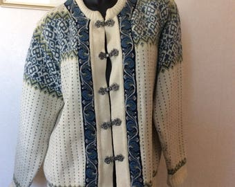 Pure Wool Norsewood Cardigan Nordic Sweater Cream Navy Pewter clasps New Zealand