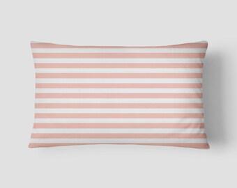 """Pale Pink Railroad // Decorative Pillow Cover 12""""x18"""" // Lumbar Pillow // Rectangular Throw Pillow"""