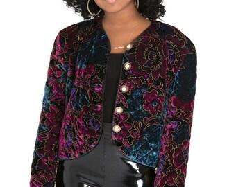 VINTAGE 90s Quilted Velvet Crop Jacket Sz M