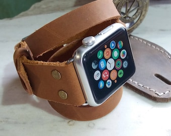 Leather Apple Watch Women Buckle , 38mm 42mm , Handmade Horween Leather , Custom Size , Series 1 2 3 Women Leather iWatch Straps