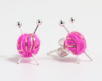 Sparkly Pink Wool knitting earrings - yarn ball and needles