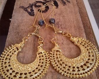 Gold hematite earrings