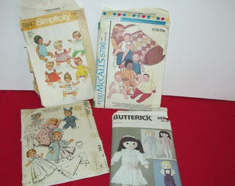 Lot of Vintage Doll Sewing Patterns