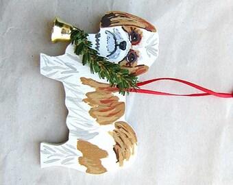 Hand-Painted SHIH TZU Gold/White Wood Christmas Ornament...Artist Original, Christmas Tree Ornament Decoration