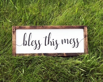 Bless This Mess Painted Sign - Painted Sign - Farmhouse Sign - Painted - Bless This Mess