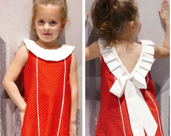Back Bow Dress Sewing Pattern for Girls with VIDEOTUTORIAL : Cute Toddler Baby Girls Dress sewing pattern 2 - 6 years ,  instant DOWNLOAD
