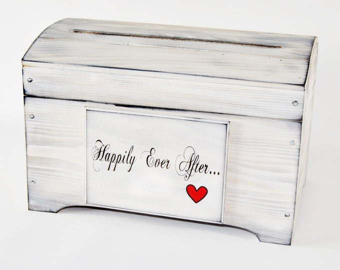 Small Rustic Card Box with card slot Happily Ever After Heart Plaque