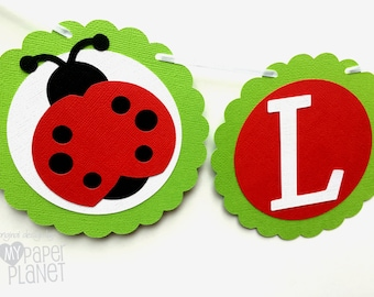 Red Ladybug Baby Girl banner. Red and Green Ladybird garland for Baby shower, Birthday party decor bunting. Baby girl gender reveal.