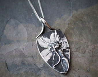 Wildflower Necklace, American Bellflower Pendant, Botanical Necklace in Fine Silver with Sterling Silver Chain, Artisan Necklace, Nature