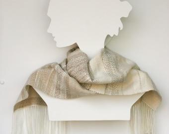 SOLD Alpaca Silk Wrap Hand Spun Handwoven Wrap