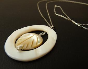 Encircled- Shimmering Leaf Pendant on Sterling