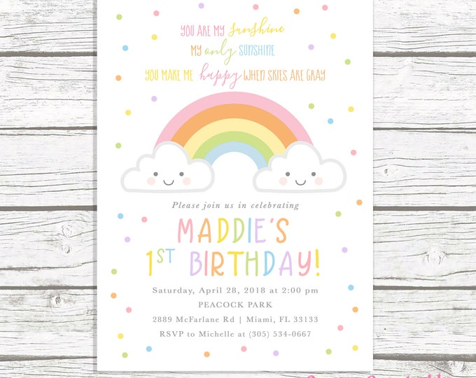 You Are My Sunshine Birthday Invitation Girl, Rainbow Birthday Invitation, Our Little Sunshine, Cloud Invitation, First 1st Birthday Invite