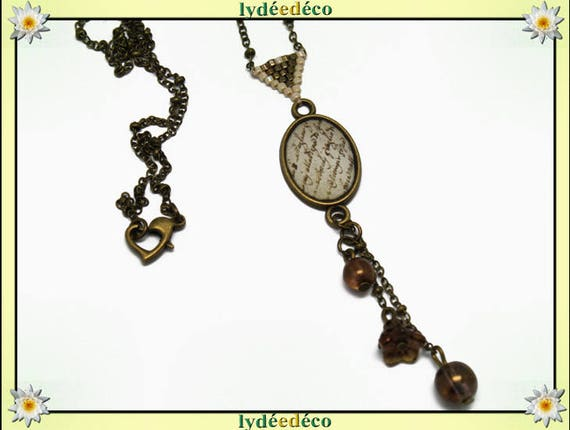 Writing parchment beige Brown sepia weaving bronze brass triangle resin necklace retro necklace Japanese glass beads