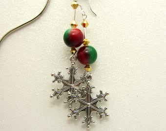 Snowflake Earrings Red and Green Christmas Snowflake Earrings Winter Earrings Dangle Drop Earrings Snowflake Jewelry SRAJD