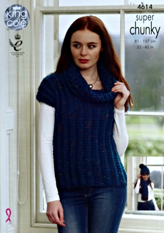 Womens Knitting Pattern K4614 Ladies Sleeveless Cowl Neck Jumper