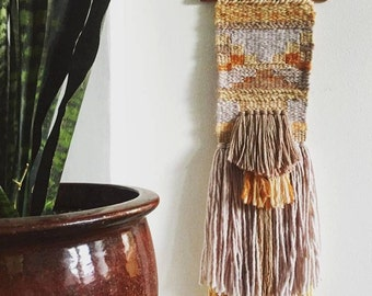 """Handwoven Wall Hanging / Tapestry Weaving 8"""" x 31"""" (""""This Is Shangrila"""")"""