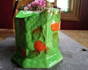 Vintage Crown Devon short vase or planter, green and orange, tomato desig, Kitchen Home decor