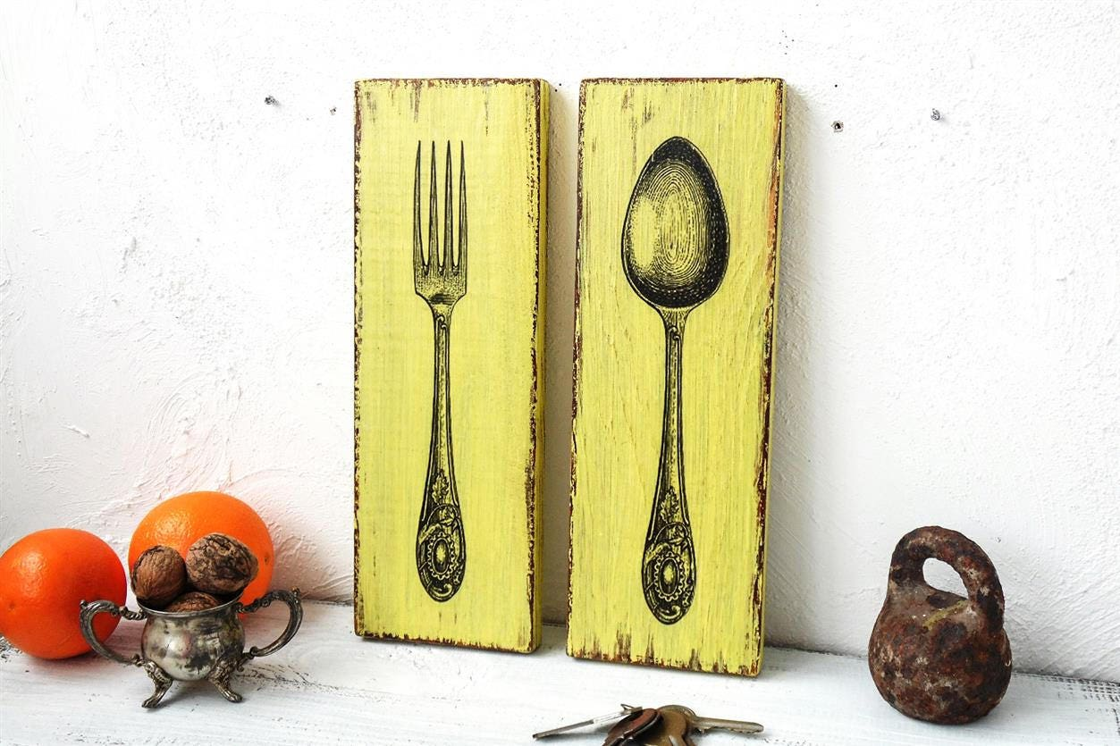 Wooden kitchen decor spoon and fork Yellow fork sign and