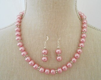 Handmade pink set, Pink pearl set, pink jewelry set, pink pearl necklace, wedding necklace, pink bridesmaid, bridesmaid gift
