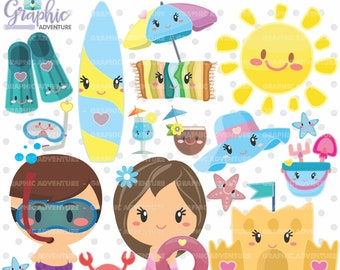 Summer Clipart, Summer Graphic, COMMERCIAL USE, Kawaii Clipart, Swimming Graphic, Swimming Clipart, Planner Accessories, Summer