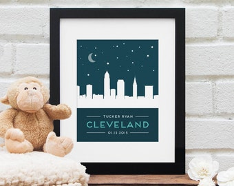 Baby Shower Gift, Personalized Baby Name, Cleveland City Skyline Nursery Art, Personalized City, New Baby Boy, Baby Girl, Baby Shower Gift