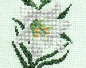 Easter Lily counted cross-stitch chart