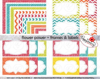 Flower Power Frames & Labels: Clip Art Pack Card Making Digital Frames Page Borders Chevron Dots Stripes