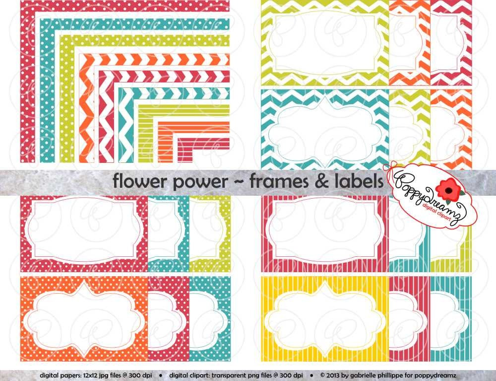 Flower Power Frames & Labels: Clip Art Pack Card Making