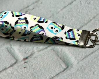 Owl Fabric key fob, wristlet keychain, key holder