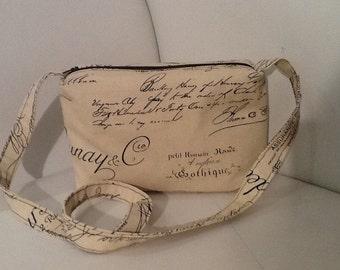 Boho script fabric shoulder bag